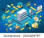isometric flowchart on blue...   Shutterstock .eps vector #1031609797