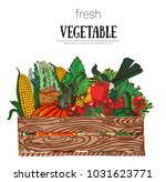 vegetables in box  hand drawing ...   Shutterstock .eps vector #1031623771