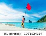 summer lifestyle traveler woman ... | Shutterstock . vector #1031624119