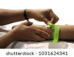 hand of nurse cleaning patient...   Shutterstock . vector #1031624341