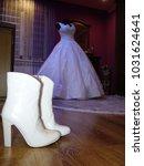 beautiful wedding dresses on a... | Shutterstock . vector #1031624641