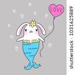 cute cartoon rabbit mermaid.... | Shutterstock .eps vector #1031625889
