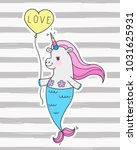 cute fairy unicorn with mermaid ... | Shutterstock .eps vector #1031625931