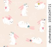 Stock vector seamless childish pattern with cute rabbits creative spring kids texture for fabric wrapping 1031634721