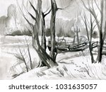 winter landscape  trees.... | Shutterstock . vector #1031635057