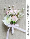 wedding boutonniere with pink... | Shutterstock . vector #1031635381