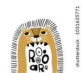 cute cartoon lion in... | Shutterstock .eps vector #1031635771