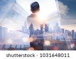 the double exposure image of...   Shutterstock . vector #1031648011