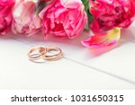 bouquet of pink tulips and... | Shutterstock . vector #1031650315