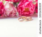 fresh bouquet of pink tulips... | Shutterstock . vector #1031650339