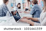young business team meeting in...   Shutterstock . vector #1031661559