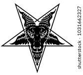 Satanic Goat Head On Pentagram. ...