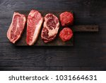 variety of raw black angus... | Shutterstock . vector #1031664631