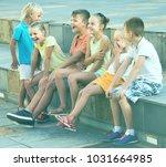 cheerful children in school age ... | Shutterstock . vector #1031664985
