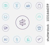 set of 13 hobby icons line... | Shutterstock .eps vector #1031666059
