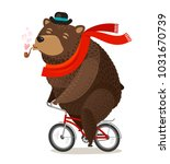 happy bear riding bike.... | Shutterstock .eps vector #1031670739