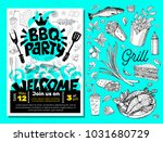 bbq party food poster. barbecue ... | Shutterstock .eps vector #1031680729