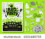 bbq party food poster. barbecue ... | Shutterstock .eps vector #1031680735