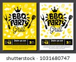 bbq party food poster. barbecue ... | Shutterstock .eps vector #1031680747