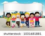 illustration of kids holding...   Shutterstock .eps vector #1031681881