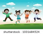illustration of happy kids... | Shutterstock .eps vector #1031684524