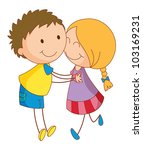 illustration of 2 young lovers  ... | Shutterstock . vector #103169231