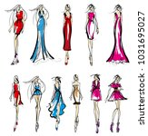 stylish fashion models. pretty... | Shutterstock . vector #1031695027