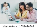 business team working on a... | Shutterstock . vector #1031696869