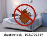 stop bug sign and clean bed in... | Shutterstock . vector #1031701819