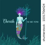 cherish your inner mermaid ... | Shutterstock .eps vector #1031706424