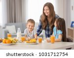 mother with children having... | Shutterstock . vector #1031712754