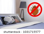 stop bug sign and clean bed in... | Shutterstock . vector #1031715577