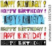 happy birthday doodles | Shutterstock .eps vector #103172615