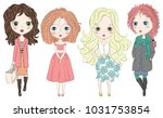 set of hand drawn beautiful... | Shutterstock .eps vector #1031753854