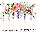 beautiful  vector floral summer ... | Shutterstock .eps vector #1031758015