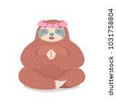 cute cartoon sloth sitting in...   Shutterstock .eps vector #1031758804