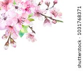 watercolor branch with spring... | Shutterstock . vector #1031768371