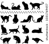 silhouette cats in black for... | Shutterstock . vector #1031769457