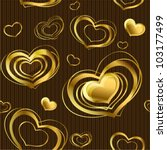 Seamless background with gold glossy hearts. (vector)