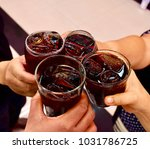 drink to celebrate on holiday. | Shutterstock . vector #1031786725