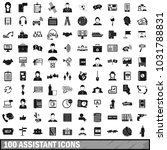 100 assistant icons set in... | Shutterstock . vector #1031788831