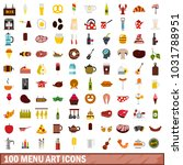 100 menu art icons set in flat... | Shutterstock . vector #1031788951
