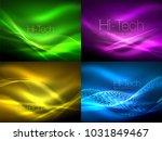 set of neon flowing waves ... | Shutterstock .eps vector #1031849467