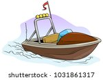 cartoon small brown motor boat... | Shutterstock .eps vector #1031861317