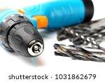 closeup on drill machine chuck... | Shutterstock . vector #1031862679