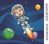 boy astronaut in the space | Shutterstock .eps vector #1031876959