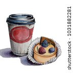 sketch of a cup of coffee and... | Shutterstock . vector #1031882281