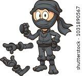 cartoon ninja with different... | Shutterstock .eps vector #1031890567