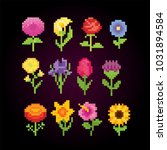 flowers icon set. pixel art.... | Shutterstock .eps vector #1031894584