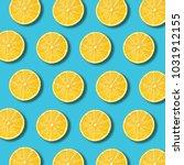 lemon slices pattern on vibrant ... | Shutterstock . vector #1031912155